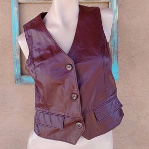 1970s Oxblood Burgundy Leather Vest Sz M